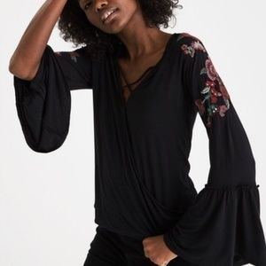AE Embroidered Bell Sleeve Blouse